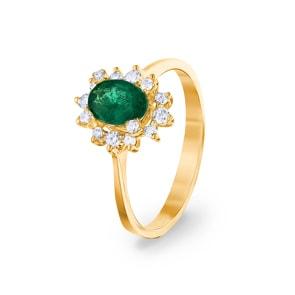 Damenring 750/18 K Gelbgold, Diamanten 0.22 ct H/si & Smaragd 0.62 ct
