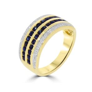 Damenring 750/18 K Gelbgold mit Diamanten 0.08 ct H/Si und Safire 0.93 ct
