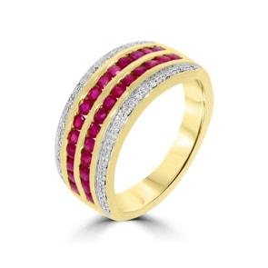 Damenring 750/18 K Gelbgold mit Diamanten 0.09 ct H/Si und Rubine 1.19 ct