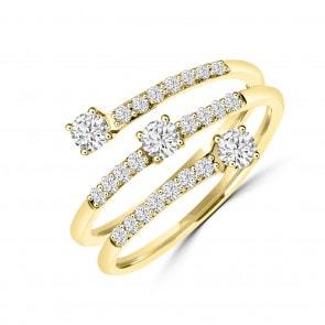 Damenring 750/18 K Gelbgold mit Diamanten 0.50 ct H/si