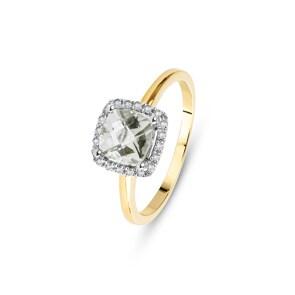 Damenring 750/18 K Gelbgold mit grünem Amethyst und Diamanten 0.06 ct H/si