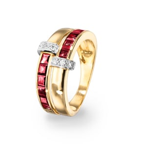 Damenring 750/18 K Gelbgold mit Rubinen carrée 1.72ct. & Diamanten 0.07ct.