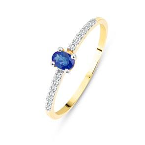 Damenring 750/18 K Gelbgold mit Saphir oval & Diamanten 0.07 ct H/si