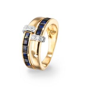 Damenring 750/18 K Gelbgold mit Saphiren carrée 1.58ct. & Diamanten 0.07ct.