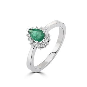 Damenring 750/18 K Weissgold, Diamanten 0.11 ct H/si & Smaragd 0.34 ct