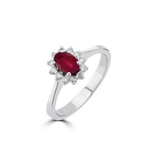 Damenring 750/18 K Weissgold, Diamanten 0.17 ct H/si & Rubin 0.78 ct