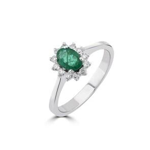 Damenring 750/18 K Weissgold, Diamanten 0.17 ct H/si & Smaragd 0.38 ct