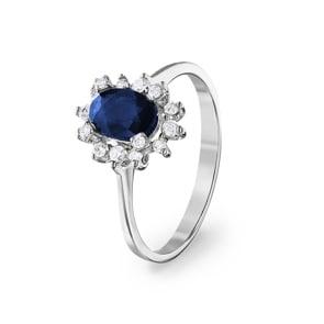 Damenring 750/18 K Weissgold, Diamanten 0.22 ct H/si & Saphir 1.00 ct