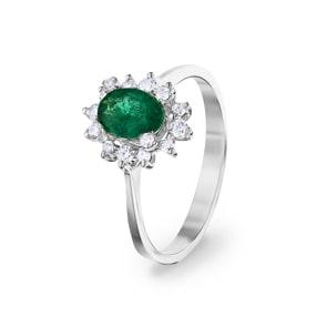 Damenring 750/18 K Weissgold, Diamanten 0.22 ct H/si & Smaragd 0.62 ct