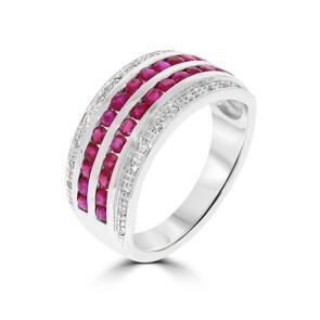 Damenring 750/18 K Weissgold mit Diamanten 0.09 ct H/Si und Rubine 1.11 ct