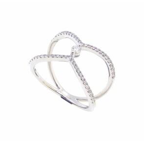 Damenring 750/18 K Weissgold mit Diamanten 0.32 ct H/Si