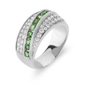 Damenring 750/18 K Weissgold mit Diamanten 0.62 ct H/Si und Smaragde 0.60 ct