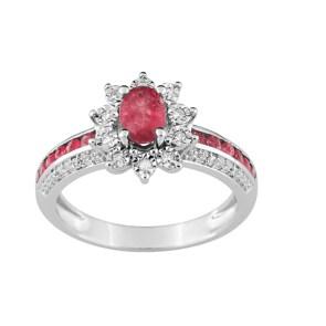 Damenring 750/18 K Weissgold mit Rubinen 0.86ct. und Diamanten 0.09ct.