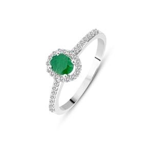 Damenring 750/18 K Weissgold mit Smaragd oval und Diamanten 0.12 ct H/si