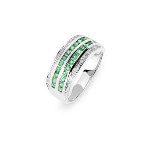 Damenring 750/18 K Weissgold mit Smaragden & Diamanten 0.10 ct H/si, Ø 56