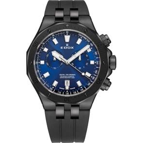 Edox Delfin Chronograph Schwarz / Blau