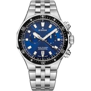 Edox Delfin Chronograph Silbrig / Blau