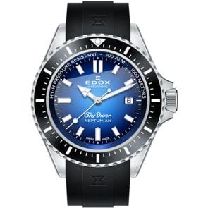 Edox SkyDiver Neptunian Automatic Blau / Kautschuk