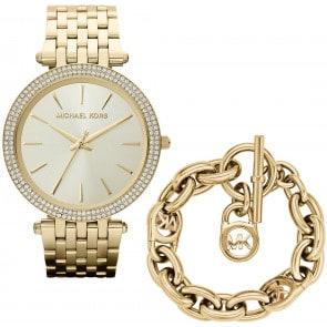 Exklusiv: Michael Kors Darci Gold mit Michael Kors Armband MK Heritage
