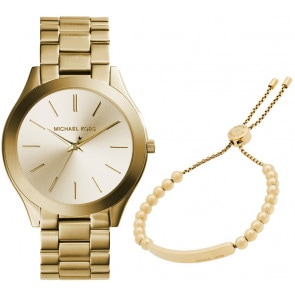 Exklusiv: Michael Kors Slim Runway Gold mit Michael Kors Armband MK Heritage