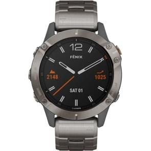 Garmin Fenix 6 Pro Sapphire Grau/Titan,Titan-Lünette, Titanarmband + Silikonarmband Orange