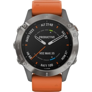 Garmin Fenix 6 Pro Saphir Grau / Orange GPS-Multisport-Smartwatch HR