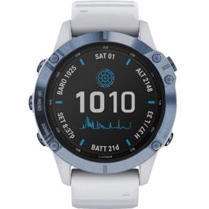 Garmin Fenix 6 Pro Solar Blau mit steinweissem Armband
