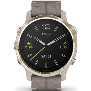 Garmin Fenix 6S Pro Sapphire Beige/Weissgold, Velourleder-Armband Grau + Silikonarmband Grau