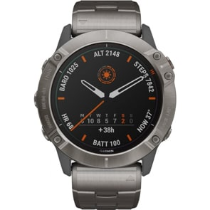 Garmin Fenix 6X Pro Solar Grau/Titan, Titan-Lünette, Titanarmband + Silikonarmband Orange