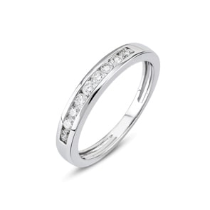 Mémoire-Ring 750/18 K Weissgold mit Diamanten 0.11 ct H/si