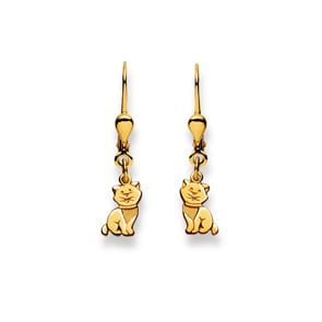 Ohrhänger 750/18 K Gelbgold, Katze