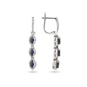 Ohrhänger 750/18 K Weissgold mit Diamanten 0.47 ct H/si & Safire 1.04 ct