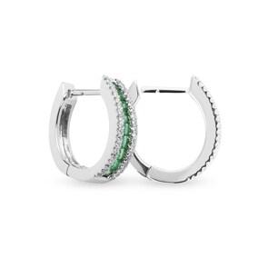 Kreolen 750/18 K Weissgold mit Diamanten 0.40 ct H/si & Smaragden