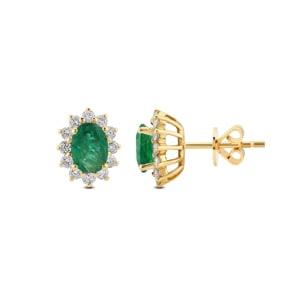 Ohrstecker 750/18 K Gelbgold, Diamanten 0.56 ct H/si & Smaragd 1.31 ct