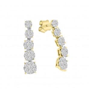 Ohrstecker 750/18 K Gelbgold mit Diamanten 0.75 ct H/si