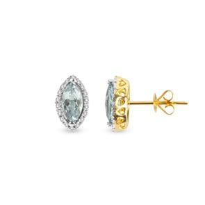 Ohrstecker 750/18 K Gelbgold mit grünem Amethyst Marquise und Diamanten 0.11 ct H/si