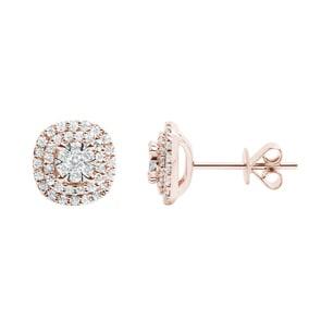 Ohrstecker 750/18 K Roségold mit Diamanten 0.50ct H/si