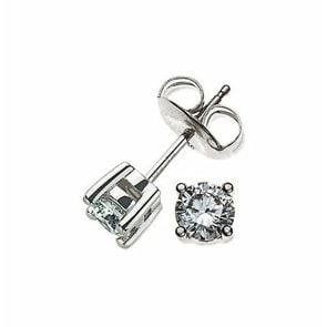 Ohrstecker 750/18 K Weissgold mit Diamant 0.33ct H/Si