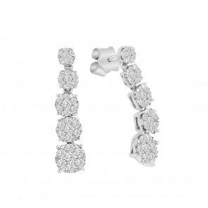 Ohrstecker 750/18 K Weissgold mit Diamanten 0.75 ct H/si