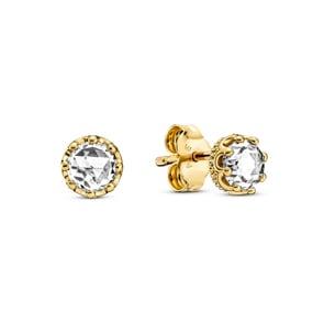 Pandora Gold Moments Klare Funkelnde Krone Ohrringe