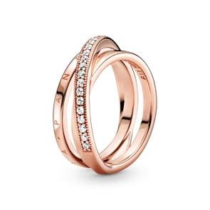 Pandora Rose Signature Dreifach gekreuzter Pavé-Ring