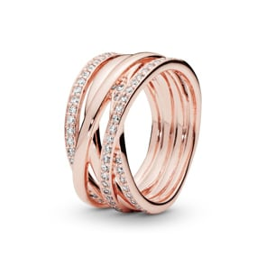 Pandora Rose Timeless Sparkling & Polished Lines Ring