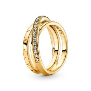 Pandora Signature Dreifach gekreuzter Pavé-Ring