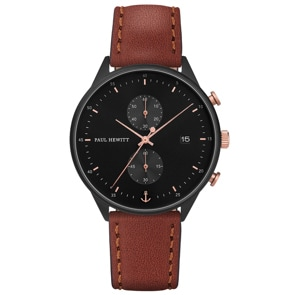 Paul Hewitt Chrono Line Black Sunray Leather Brown Ø 42