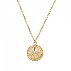 Paul Hewitt Halskette 925 Silber Wind Rose IP Gold