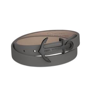 Paul Hewitt North Bound IP Black Wrap Bracelet Leather Grey