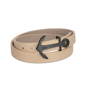 Paul Hewitt North Bound IP Black Wrap Bracelet Leather Hazelnut