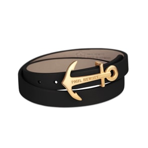Paul Hewitt North Bound IP Gold Wrap Bracelet Leather Black