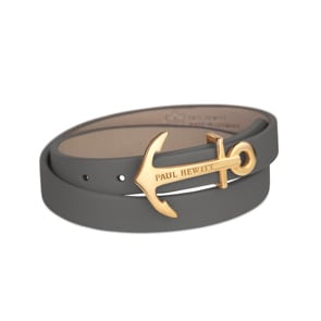 Paul Hewitt North Bound IP Gold Wrap Bracelet Leather Grey