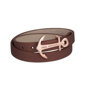 Paul Hewitt North Bound IP Rose Wrap Bracelet Leather Brown